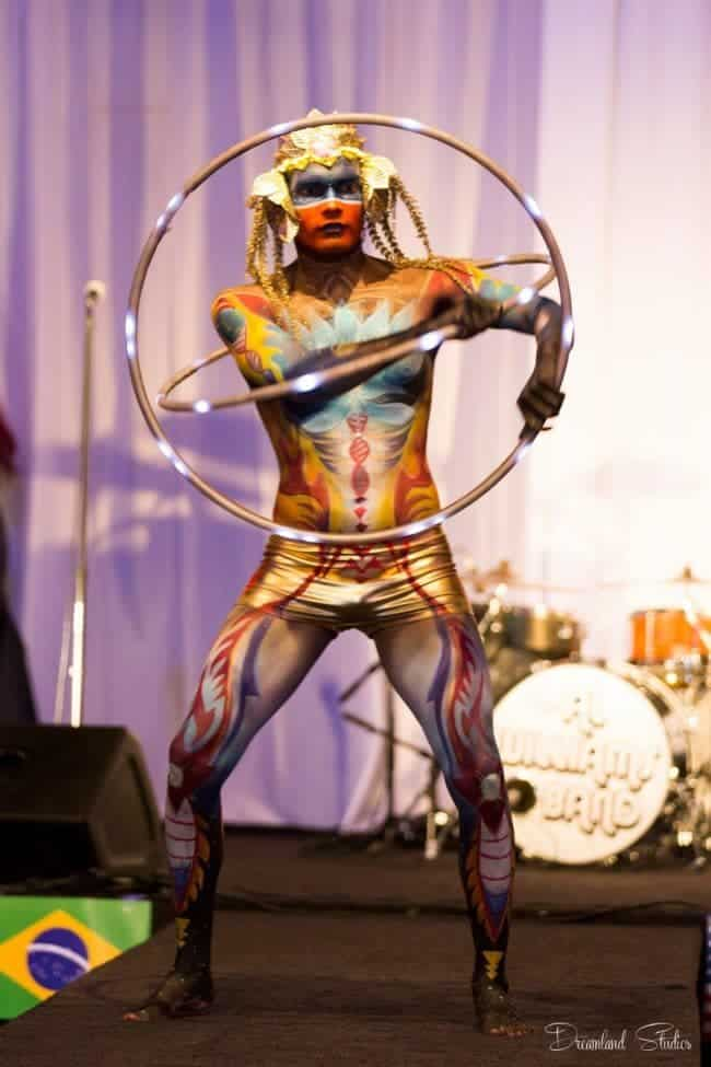 LED Hoop Performer & Bodypaint Model | Ben | Imagine Circus | Photo by Joshua Macias / Dreamland Studios