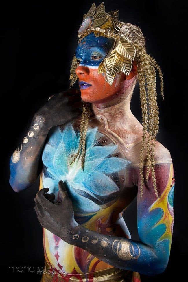 Bodypaint Model Ben | Body Paint by Molly (Assisted by Alexa) | Imagine Circus | Photo by Marie Otero