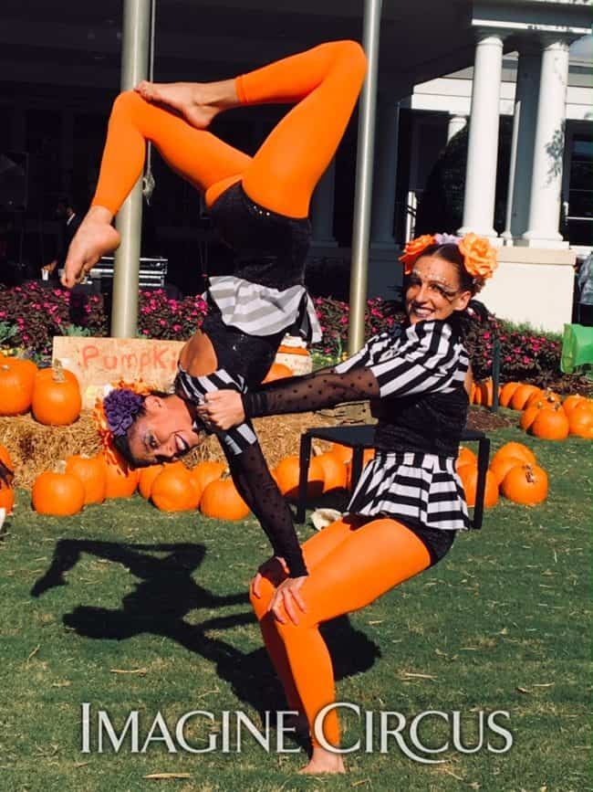 Acrobats, Acro Duo, Fall Festival, Autumn, Country Club, NRCC, Katie, Kaci, Imagine Circus Peformers