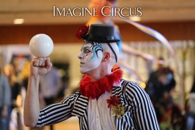 Juggler, Contact Juggling, Cirque, Imagine Circus, Performer, Adam, HQ Raleigh, Photo by Kalli Ingram