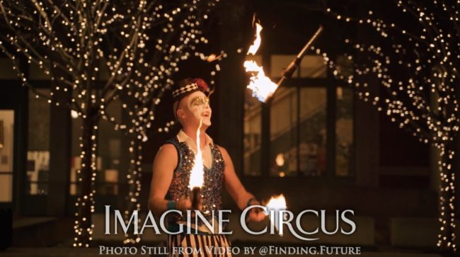 Fire Juggling, Fire Juggler, Teal, Gold, Cirque, Imagine Circus, Oddball Gala, Performer, Adam, Photo still from video by Finding Future