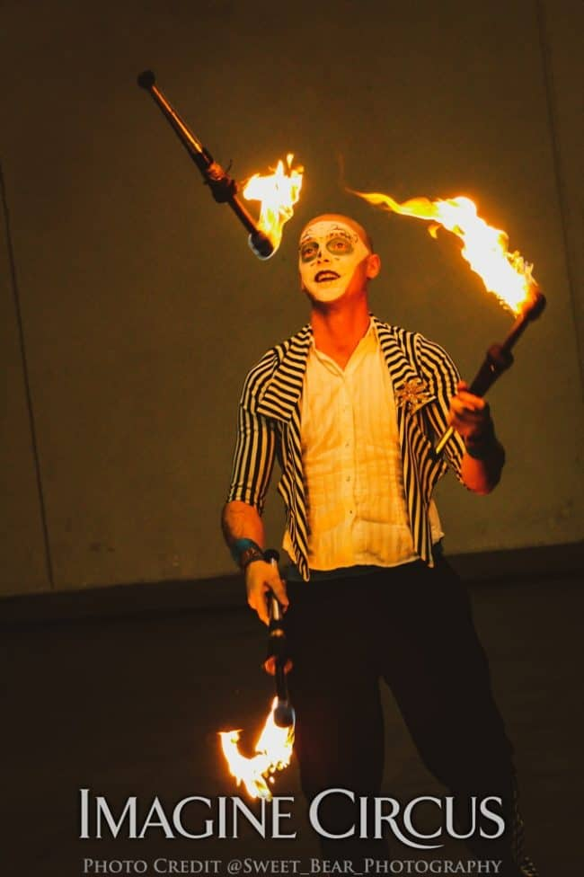 Fire Juggler, Juggling, Vapers Carnivale, Imagine Circus, Performer, Adam, Photo by Sweet Bear Photography