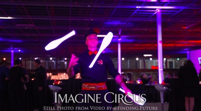 LED Juggler, Adam, Performer, VAE Gala Raleigh, Imagine Circus, Still from Video by Finding Future