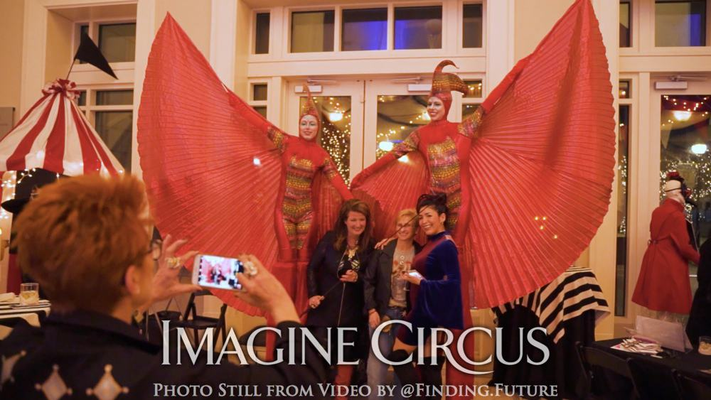 Winged Stilt Walkers, Red, Gold Bird, Cirque, Imagine Circus, Performers, Steph, Brittney, Oddball Gala, Photo still from video by Finding Future