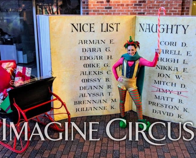 Elf Character, Winter Holiday Entertainment, Katie, Newport News, Virginia, Imagine Circus Performer
