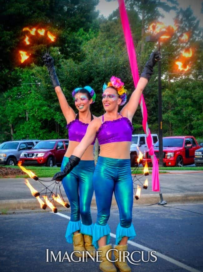 Fire Dancers, Teal, Purple, Mermaid, Katie, Kaci, Imagine Circus, Performers, Back to School Bash