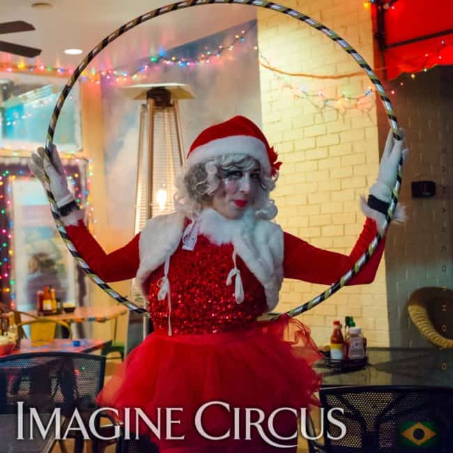 Hoop Dancer, Winter Holiday Entertainment, Liz Bliss, Cameron Village, Raleigh, Imagine Circus Performer, Photo by Gus Samarco