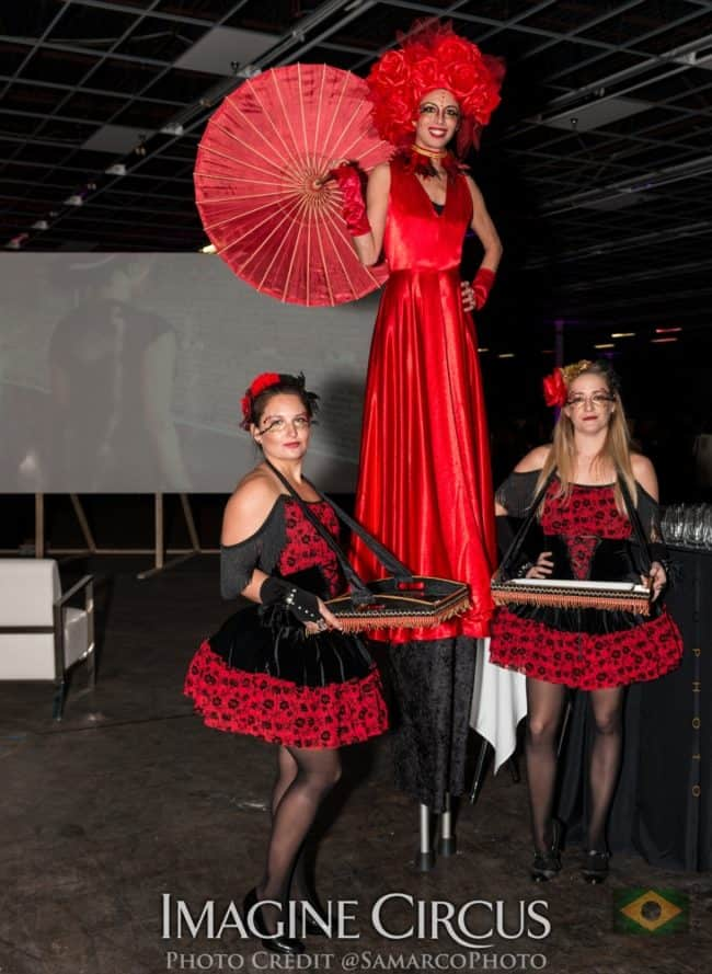 Stilt Walker, Serving Trays, Cigar Girls, Red, Black, VAE Gala, Imagine Circus, Performers, Kaci, Lulu, Irene, Photo by Gus Samarco