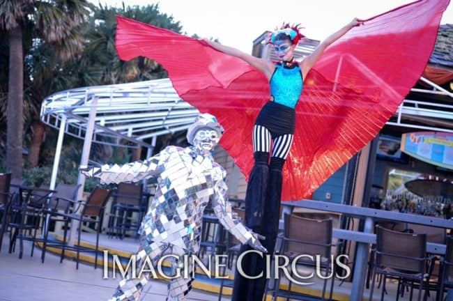 Isis Wing Stilt Walker, Mirror Man, Big Top Cirque, AARST, Myrtle Beach, Imagine Circus, Performer, Kaci