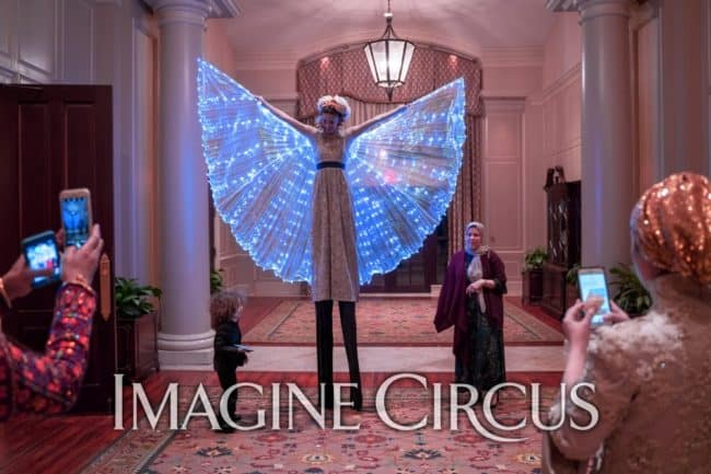 LED Isis Wing Stilt Walker, Performer, Kaci, Wedding Entertainment, Prestonwood Country Club, Cary, NC, Imagine Circus