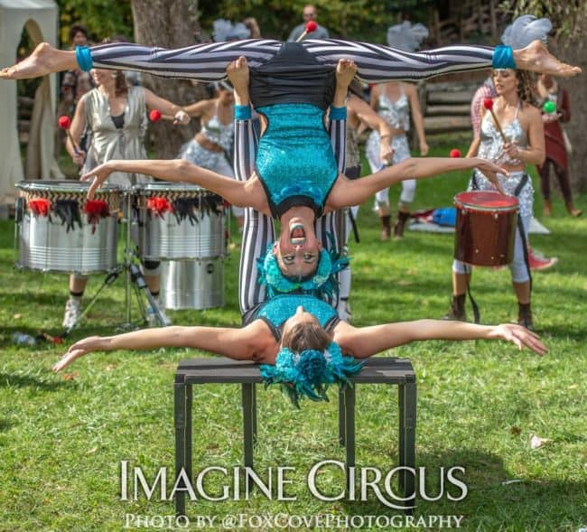 Acrobat Duo, LEAF Festival, Imagine Circus, Performers, Katie, Kaci, Photo by Steve Atkins