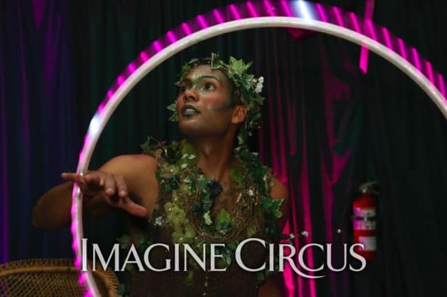 LED Hoop Dancer, Ben, Green, Vines, Flora, Jungle, Gala, Imagine Circus, Photo by Dan Currier for the Institute for Contemporary Art, Richmond, Virginia