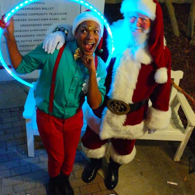 LED Hoop, Winter Holiday, Entertainment, Ben, Santa, Greensboro Tree Lighting, Imagine Circus