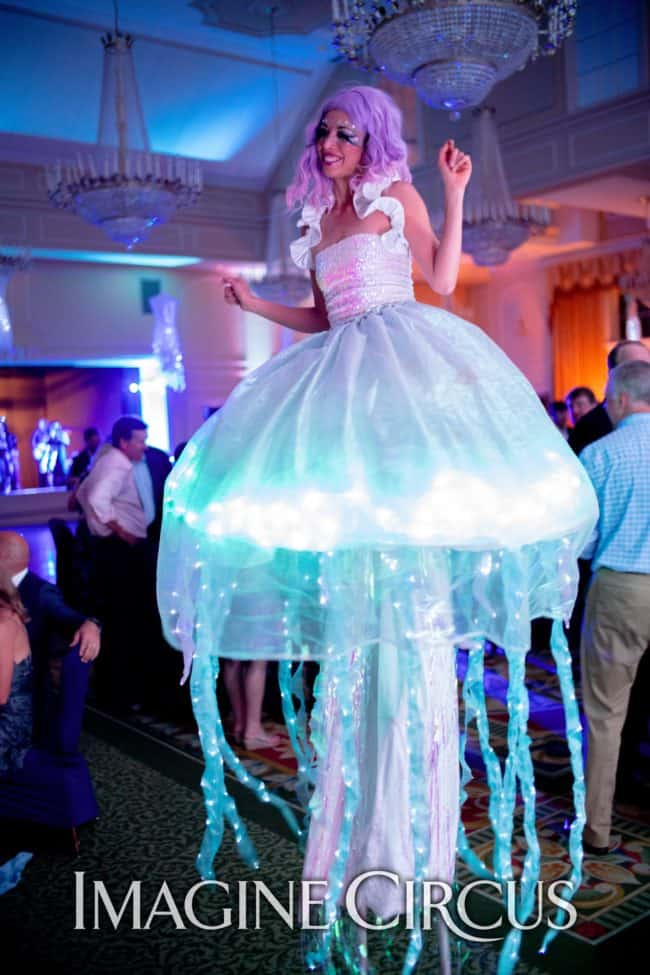 LED Jellyfish Stilt Walker, Kaci, Under the Sea Themed Party, NRCC, Imagine Circus Performer