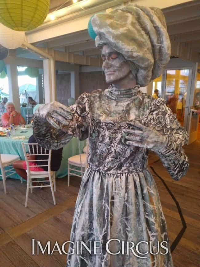 Living Statue, Stone Fountain Woman, Shoals Club, Azul, Imagine Circus Performers