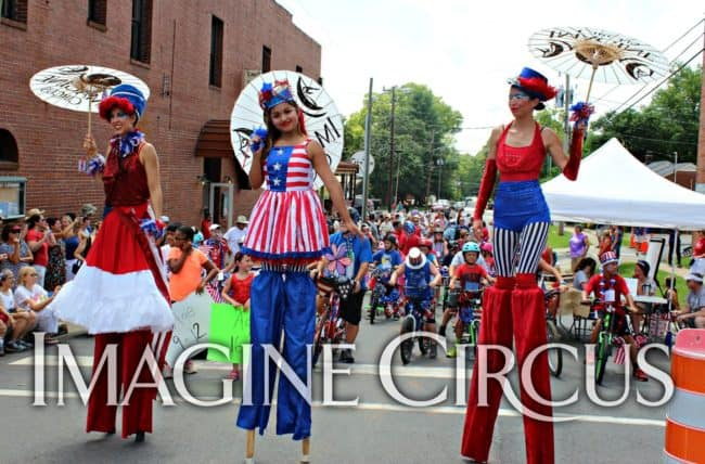 Stilt Walkers, Parade, Red, White, Blue, July 4th, Pittsboro, NC, Imagine Circus, Performers, Liz, Mari, Kaci