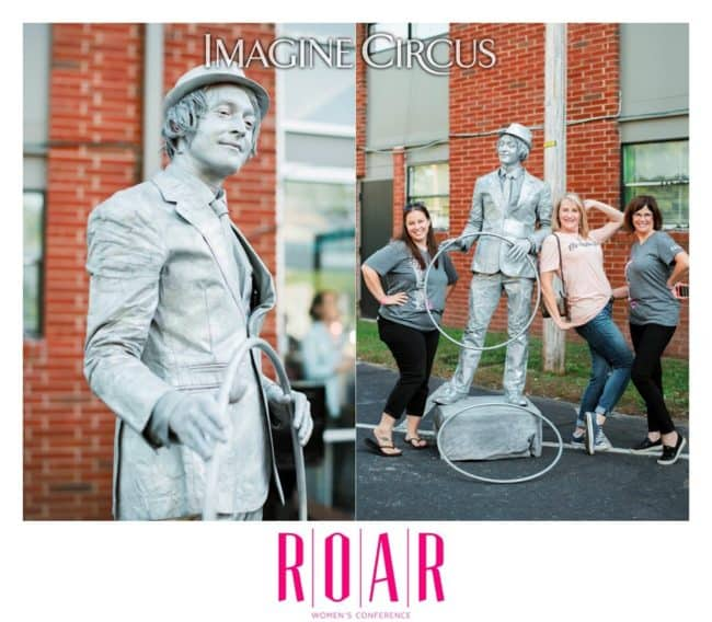 Silver Living Statue, Big Top Cirque, Dustin, ROAR Womens Conference, Imagine Circus Performer