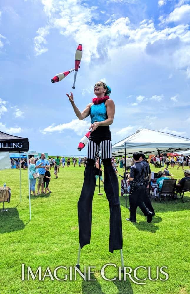 Stilt Walker, Juggler, Nags Head, NC, Imagine Circus, Performer, Katie