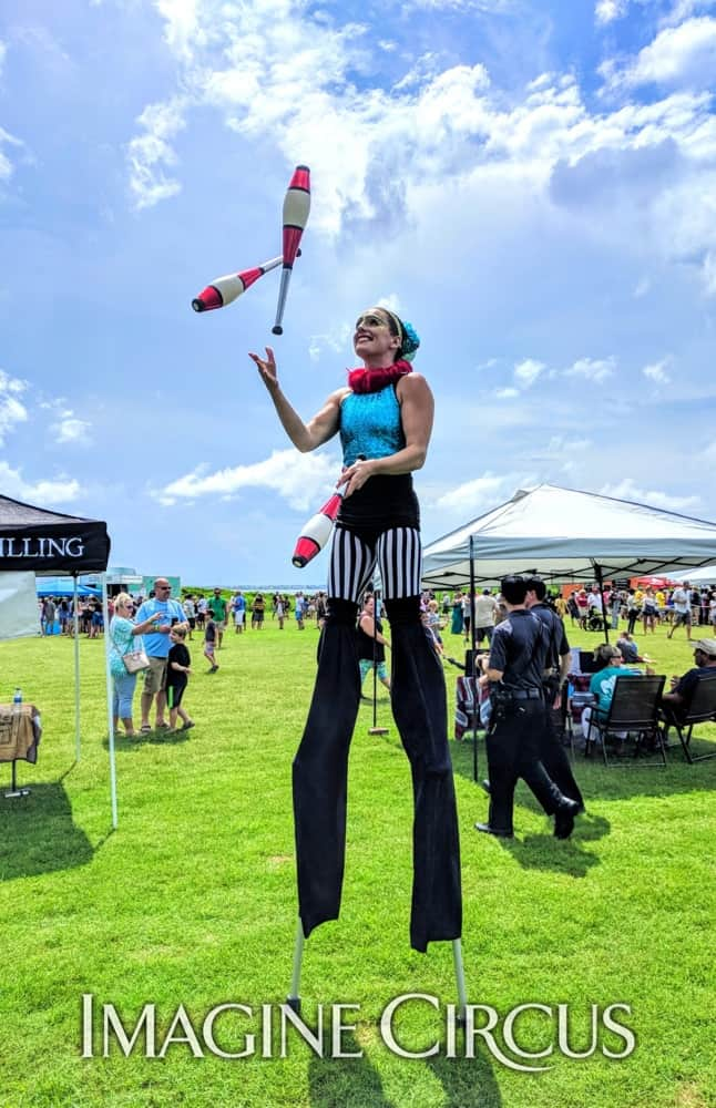 Stilt Walker, Juggler, Nags Head, NC, Imagine Circus, Performer, Katie