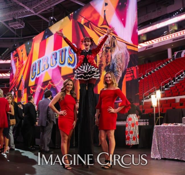Stilt Walker, Black, white, Red, Big Top Circus, Cirque, Imagine Circus, Hurricanes Bash, Performer, Azul