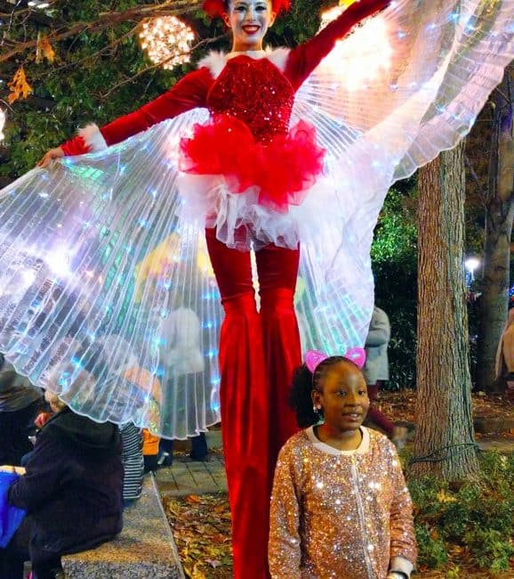 Stilt Walker, Winter Holiday, Entertainment, Kaci, Greensboro Tree Lighting, Imagine Circus Performer