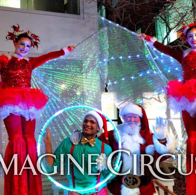 Stilt Walkers, LED Hoop, Holiday Entertainment, Santa, Katie, Kaci, Ben, Greensboro, Tree Lighting, Imagine Circus Performers