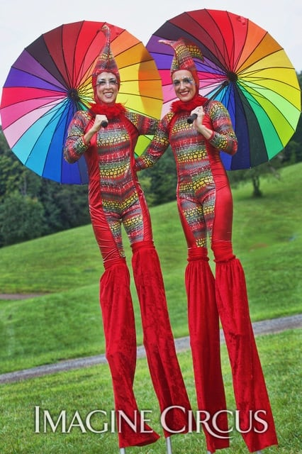 Stilt Walkers, Cirque, Red, Rainbow, Imagine Circus