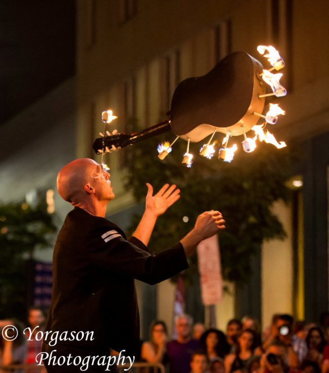 Adam | Fire Juggler | Flaming Guitar | Fire Dancer | Street Festival | Music | Performer | Imagine Circus | Cirque | Raleigh, NC