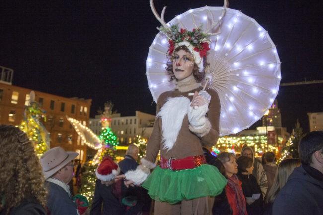 Adrenaline   Stilt Walking   Winter Holiday Reindeer  LED Parasol   Crowd Roving   Circus   Performer  Cirque   Christmas