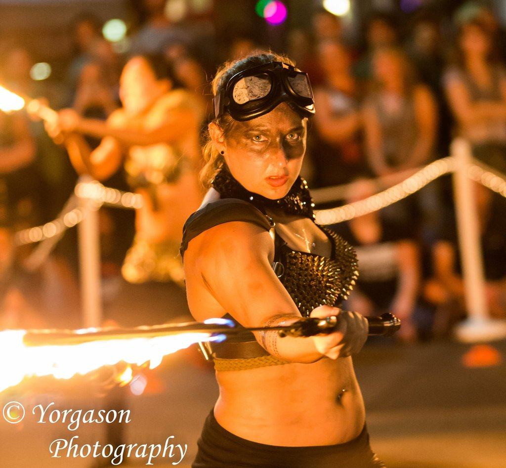 Adult fire performer are