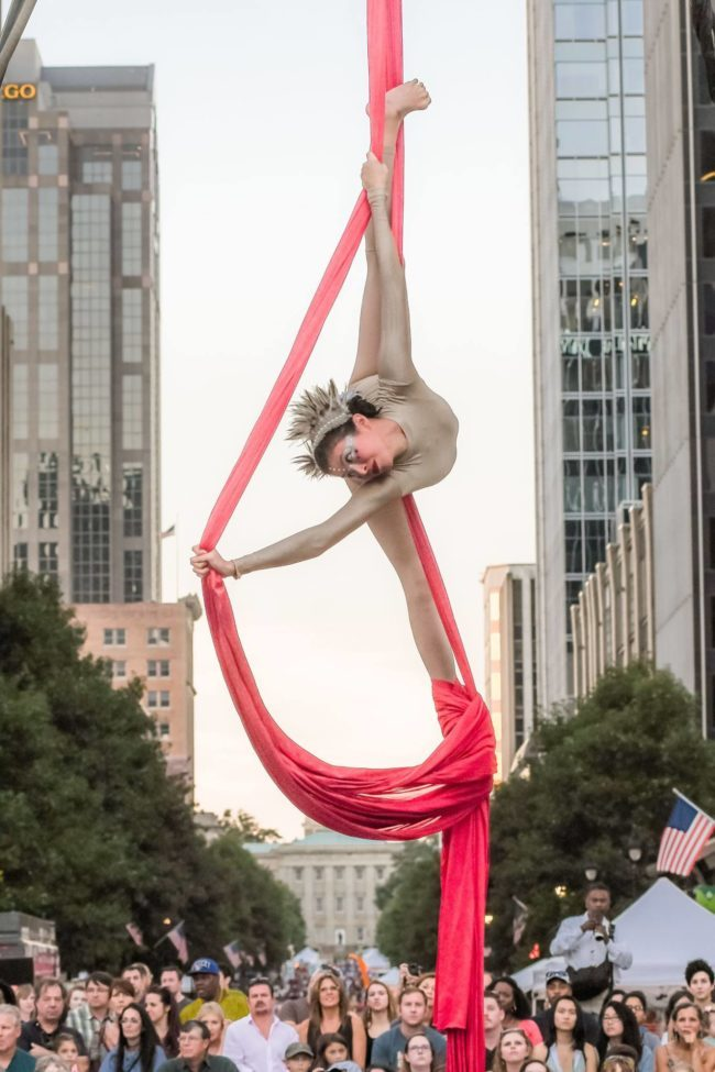 Kaci | Aerial Performance | Aerial Silks | Street Festival Entertainment | SPARKcon | circusSPARK | Imagine Circus | Cirque | Raleigh, NC
