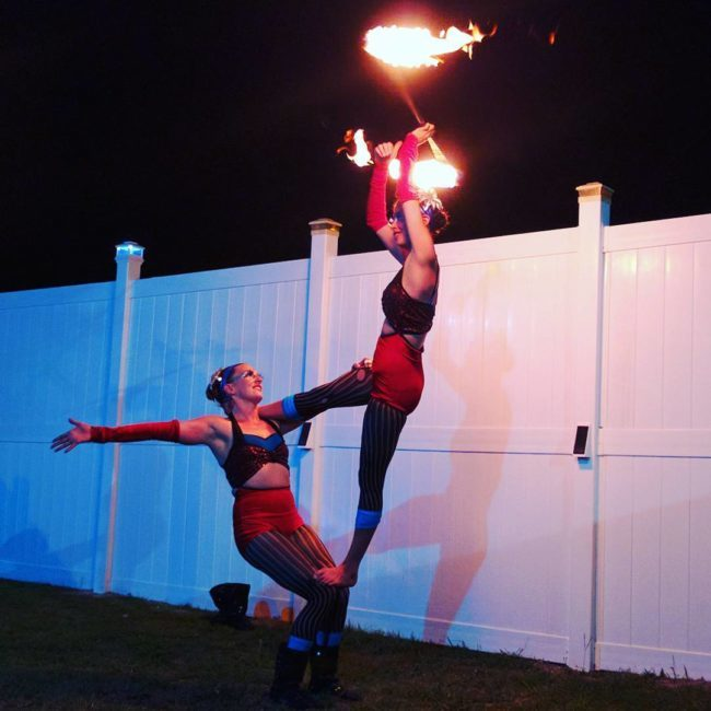 Katie | Kaci | Patriotic Holidays | Fire Performers | Acrobatic Performance | Partner Acro | Duo | USA | Imagine Circus | Cirque | Raleigh, NC