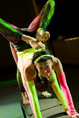 Partner Acro Balancing | Neon Glow Costume | Stage Performance | Acro Duo | AcroYoga | Adagio | Imagine Circus | Cirque | Raleigh, NC