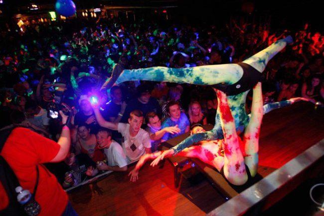 Katie | Kaci | Acrobats | Partner Acro Balancing | Neon Glow Costume | Acrobatic Performance | Stage Show | Circus | Cirque | Performers| Imagine Circus | Cirque | Raleigh, NC
