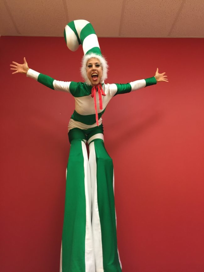 Liz | Winter Holidays | Stilt Walker | Candy Cane | Imagine Circus | Cirque | Raleigh, NC