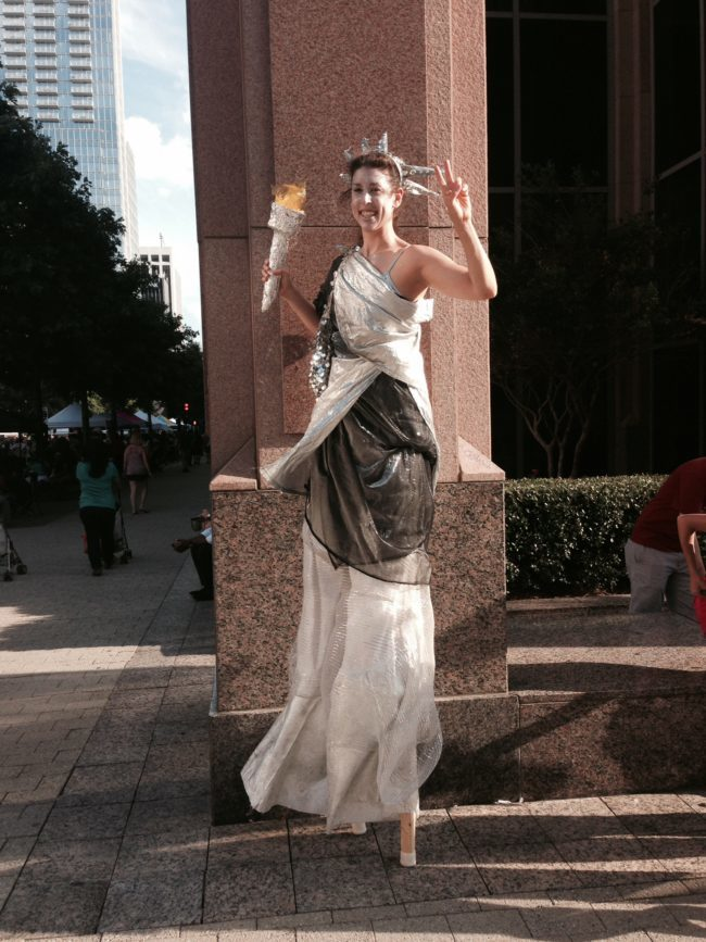 Liz | Patriotic Holidays |Lady Liberty | Statue of Liberty | Stilt Walker | Imagine Circus | Cirque | Raleigh, NC