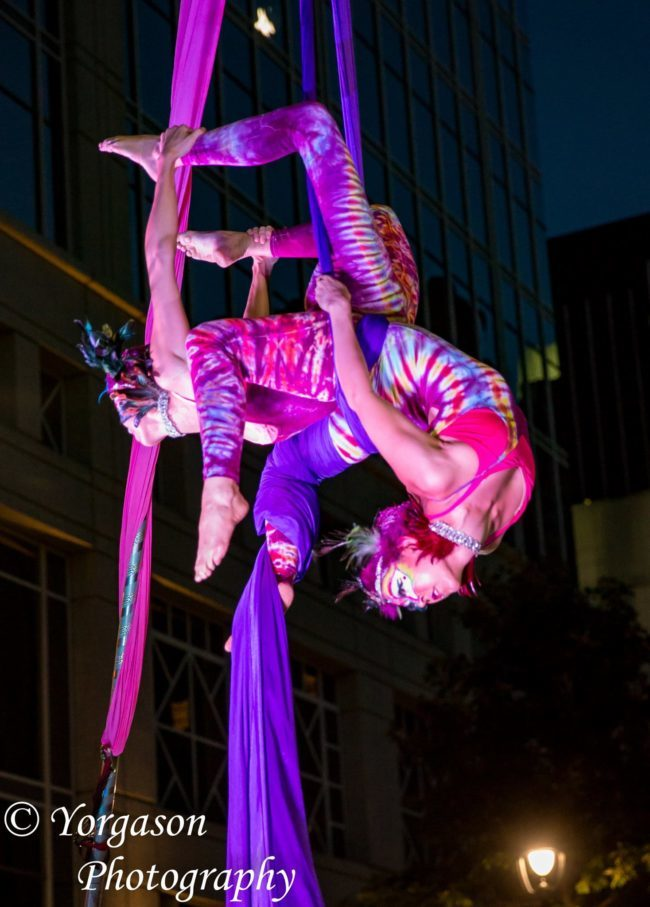 Aerial Performance | Partner Silks | Duo | Tie Dye | Imagine Circus | Cirque | Raleigh, NC