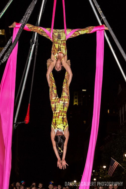 Kaci | Liz |Aerial Performance | Partner Silks | Duo | Tie Dye | Imagine Circus | Cirque | Raleigh, NC