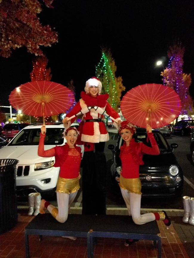 Katie | Liz | Kaci | Winter Holidays | Stilt Walker | Performers | Mrs. Clause | Santa's Helpers | Imagine Circus | Cirque | Raleigh, NC