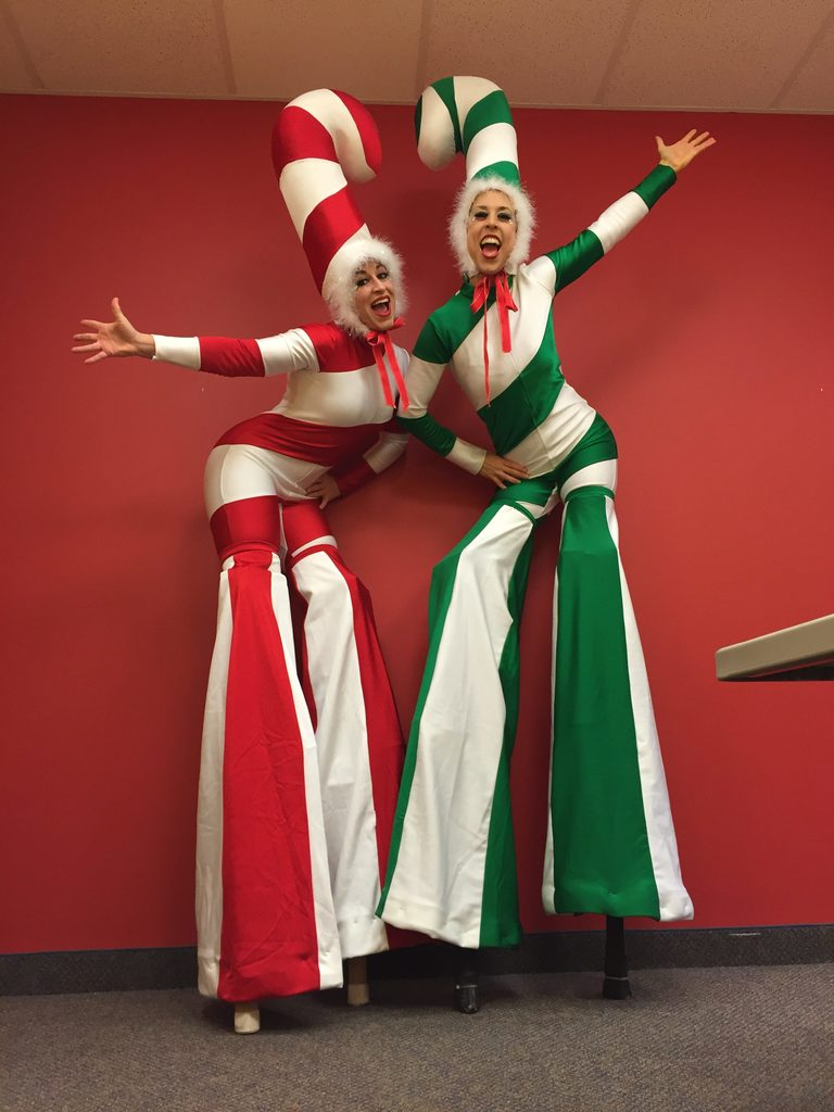 Robin | Liz | Winter Holidays | Stilt Walker | Candy Cane | Imagine Circus | Cirque | Raleigh, NC