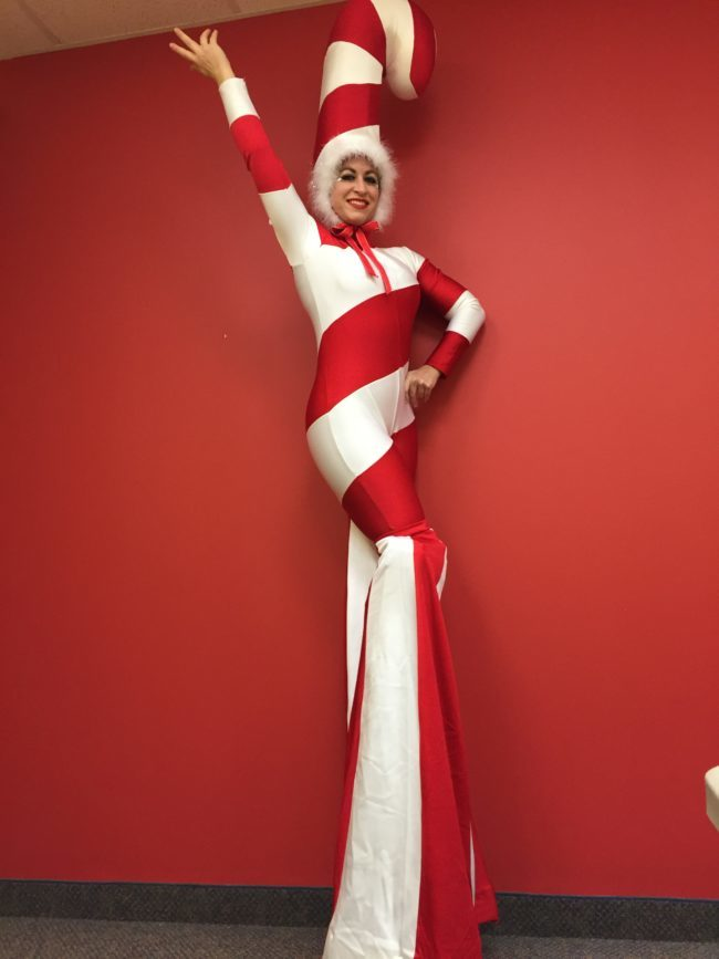Robin | Winter Holidays | Stilt Walker | Candy Cane | Imagine Circus | Cirque | Raleigh, NC