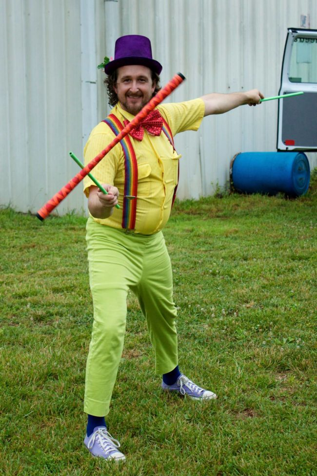 Ian | Clown | Flower Sticks | Street Festival | Performer | Imagine Circus | Cirque | Raleigh, NC