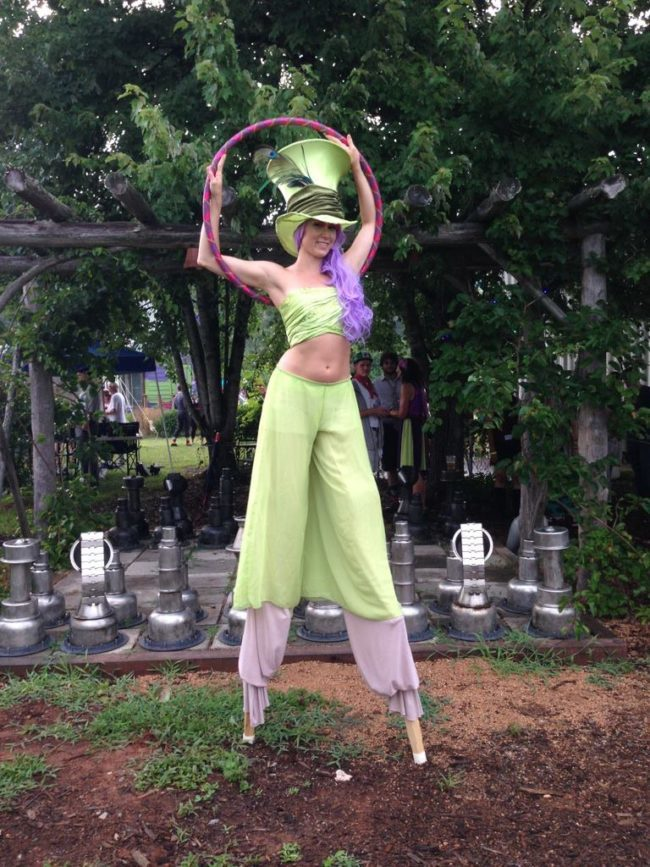 Mindy | Stilt Walker | Street Festival | Mad Hatter | Costume | Performer | Imagine Circus | Cirque | Raleigh, NC