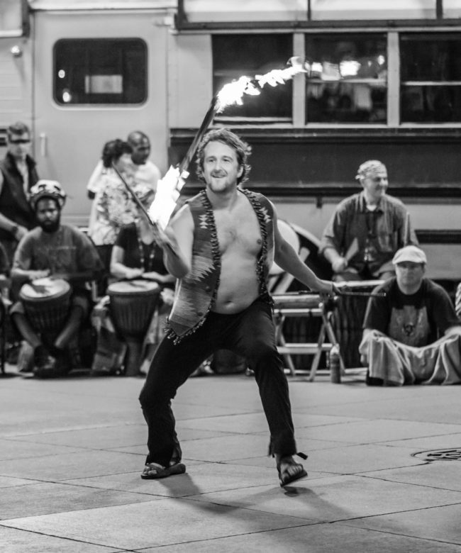 Ian | Fire Flower Sticks | Street Festival | Performer | Imagine Circus | Cirque | Raleigh, NC