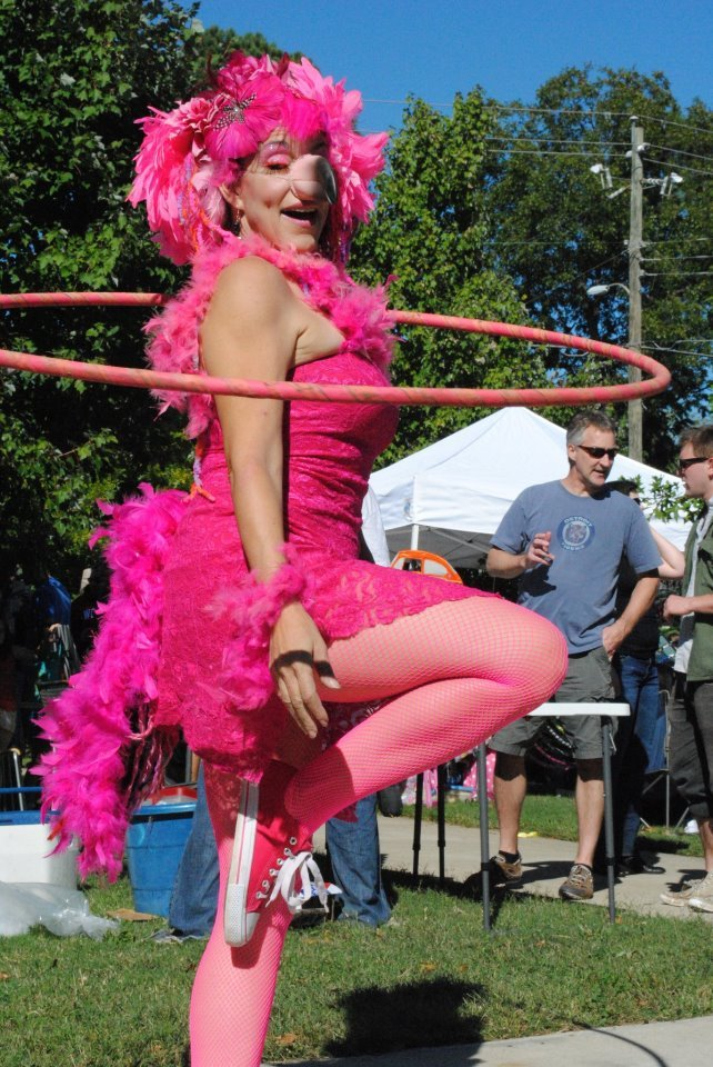 Caroleeena | Hoop Dancer | Hula Hoop | Hooper | Flamingo Costume | Performer | Imagine Circus | Cirque | Raleigh, NC