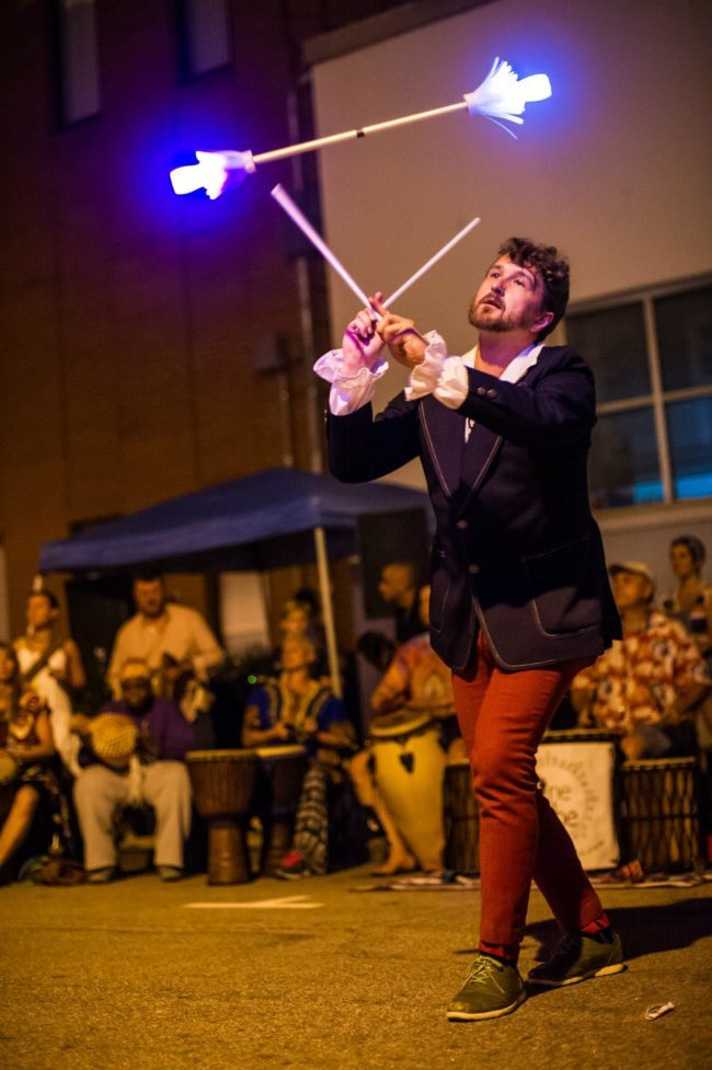 Ian | LED Flower Sticks | Street Festival | Performer | Imagine Circus | Cirque | Raleigh, NC
