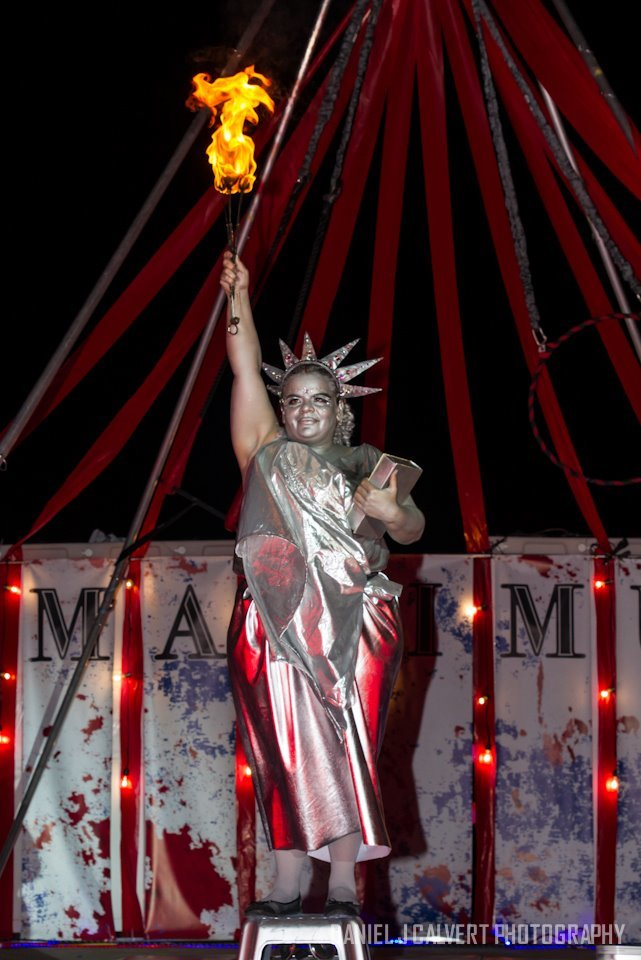 Patriotic Holidays | 4th of July Entertainment | Fire Performance | Lady Liberty | Living Statue | Statue of Liberty | Imagine Circus | Cirque | Raleigh, NC