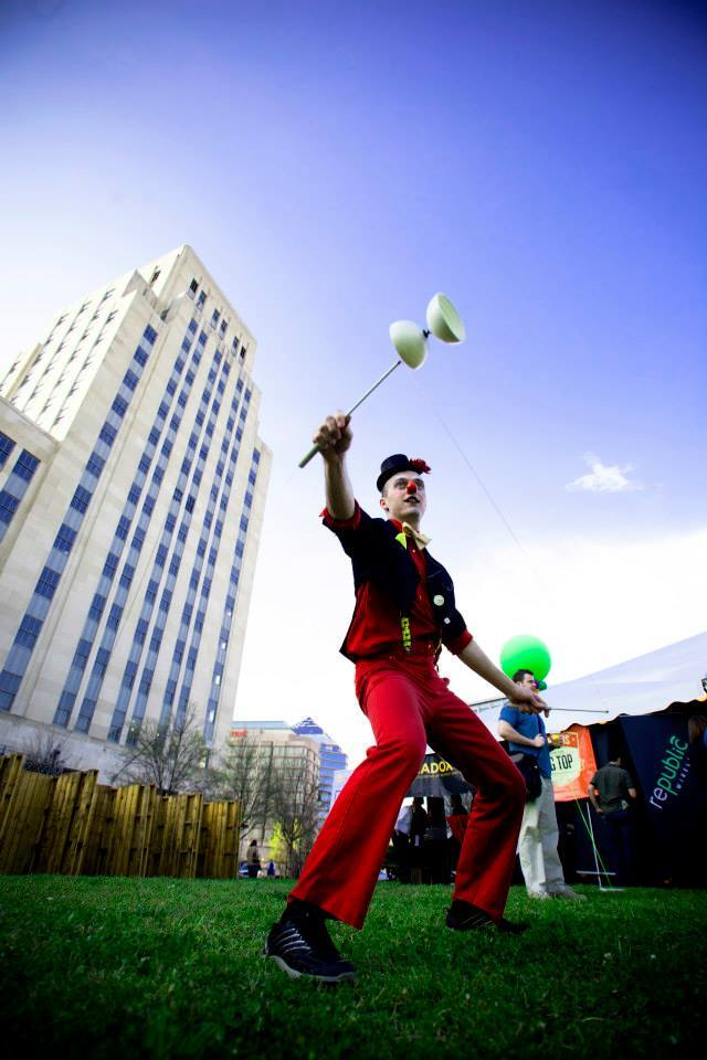 Adam | Flow Arts | Clown | Mime | Diabolo | Performer | Imagine Circus | Cirque | Raleigh, NC