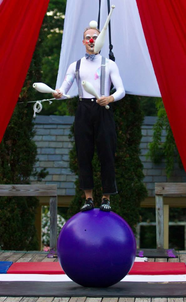 Adam | Big Top | Clown | Mime | Juggler | Juggling | Rolling Globe | Performer | Imagine Circus | Cirque | Raleigh, NC
