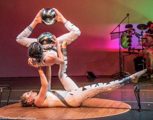 Katie | Kaci | White Costumes | Silver Spheres | Acrobatic Performance | Partner Acro | Duo | Imagine Circus | Cirque | Raleigh, NC